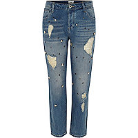 Mid blue denim embellished boyfriend jeans