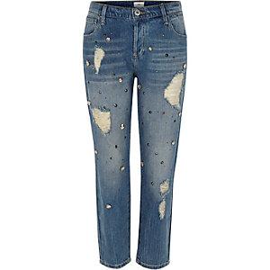 Mittelblaue, verzierte Boyfriend-Jeans