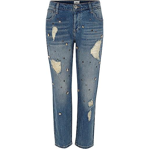 Mid blue denim embellished boyfriend jeans