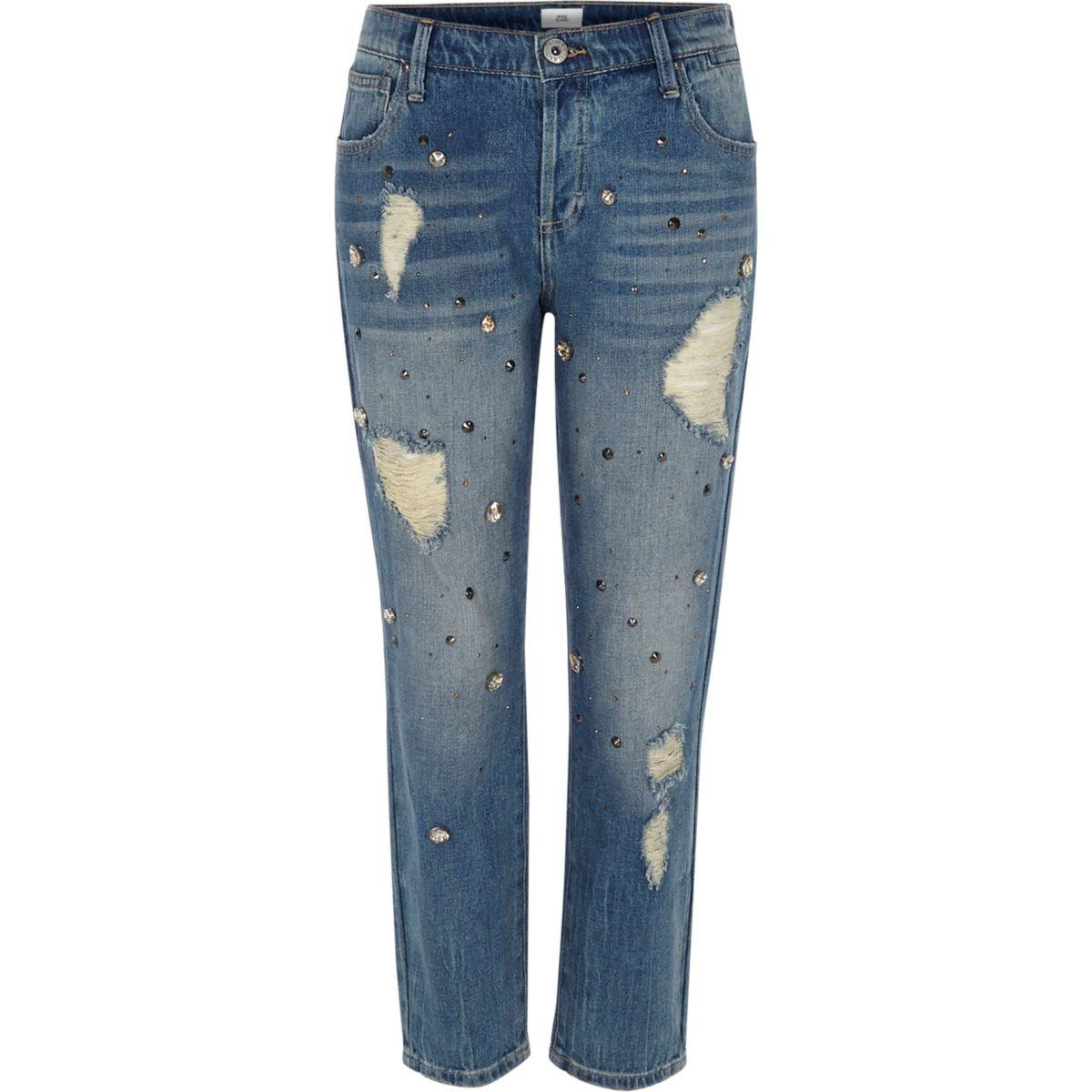 Middenblauwe denim versierde boyfriend jeans