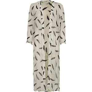Cream embellished feather print duster coat