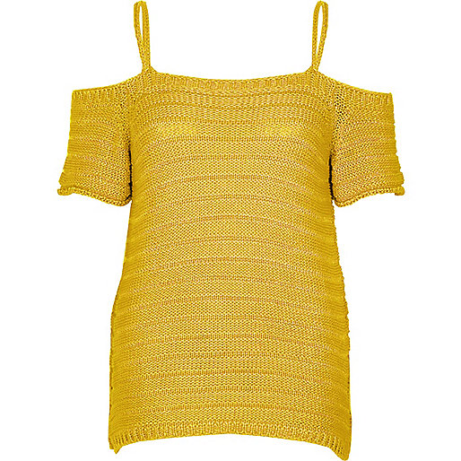 Dark yellow knit cold shoulder top