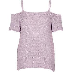 Light purple knit cold shoulder top