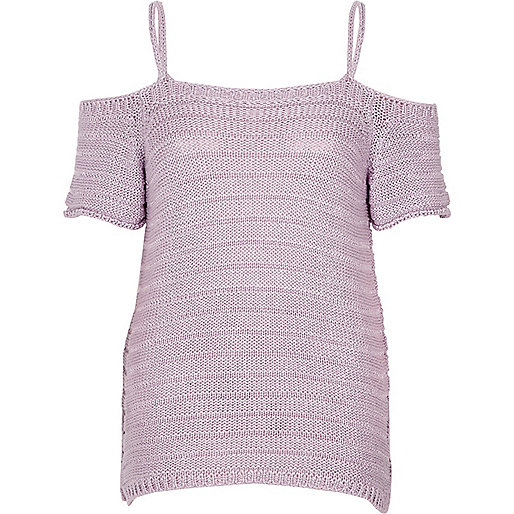Light purple knit cold shoulder top