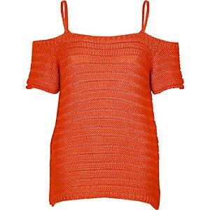 Red knit cold shoulder top