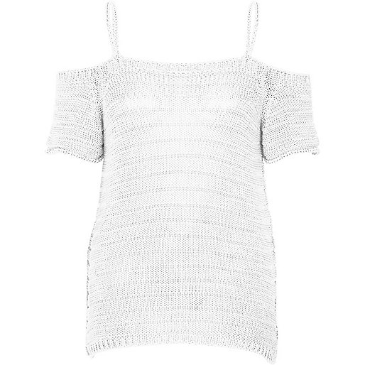 White knit cold shoulder top