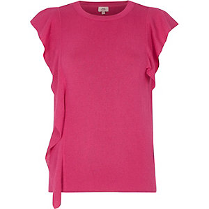 Pink knit frill front top