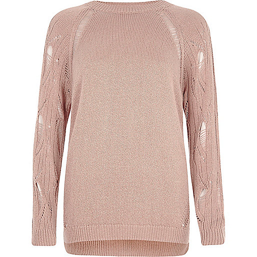 Light pink ladder raglan sleeve sweater