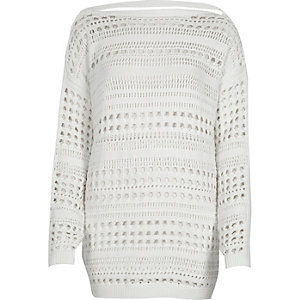 White knit open stitch V back sweater