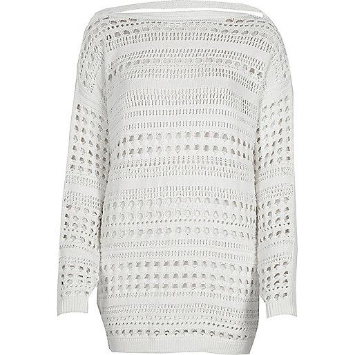 White knit open stitch V back jumper