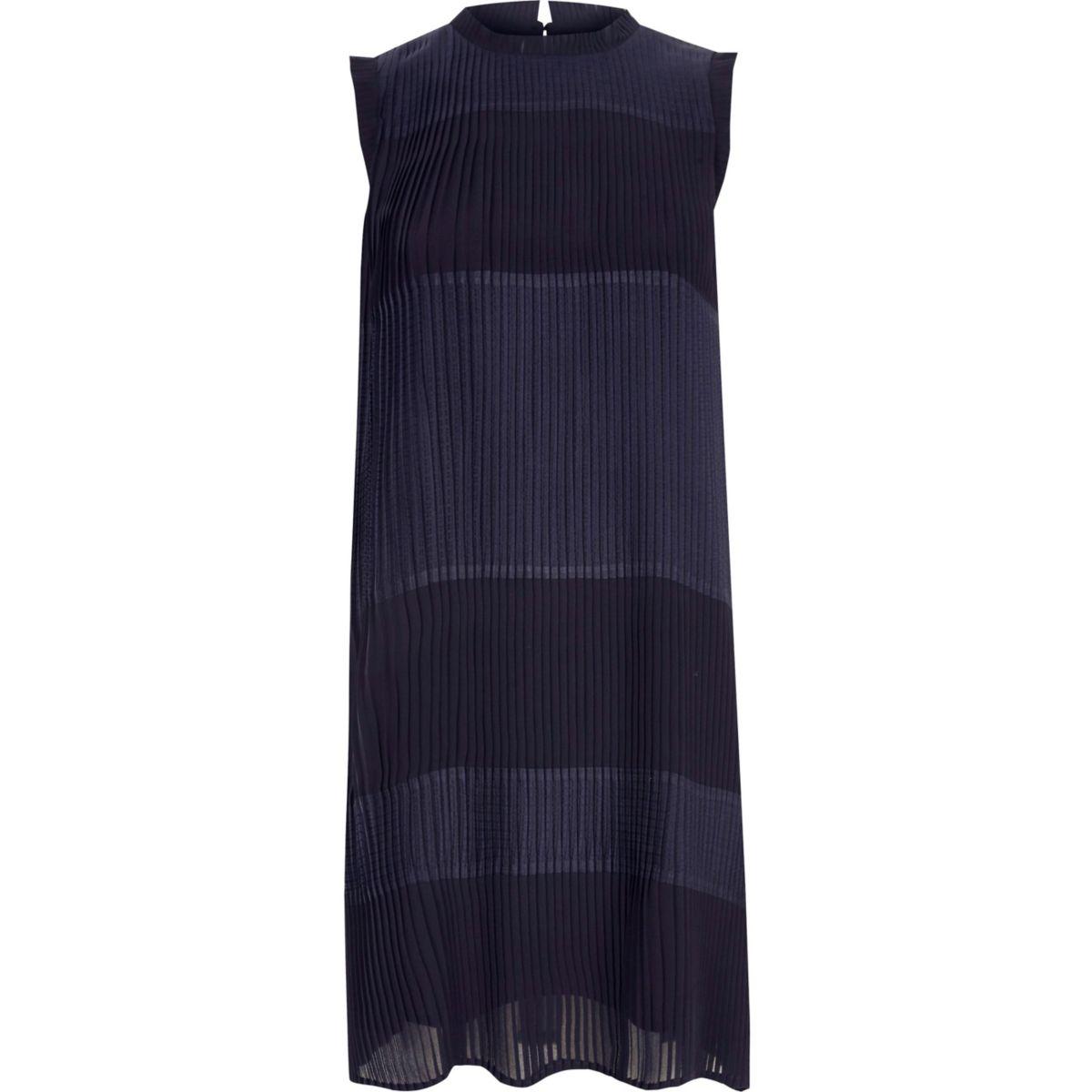 Navy sleeveless pleated swing dress