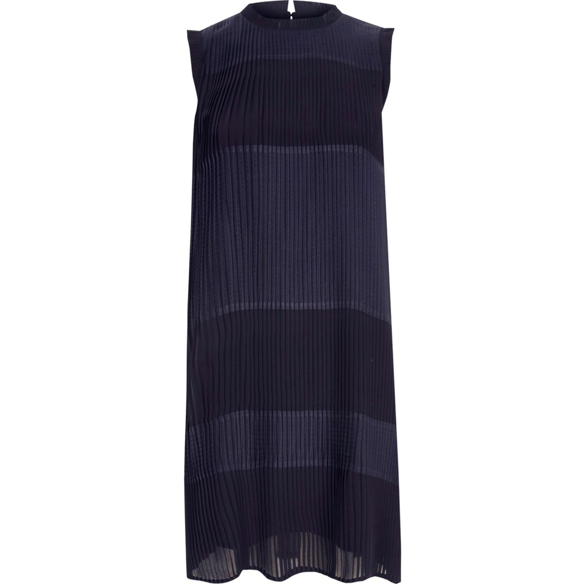 Navy sleeveless pleated swing dress