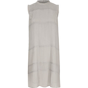 Grey sleeveless pleated swing dress