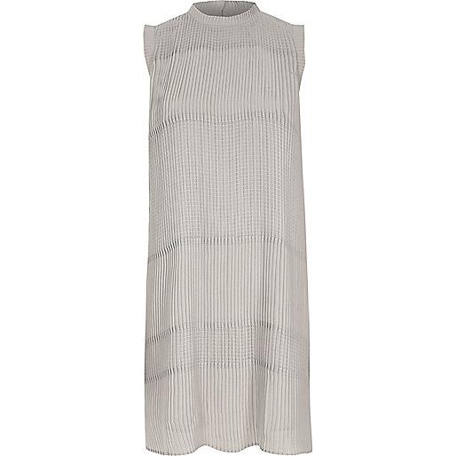 Grey sleeveless pleated swing dress