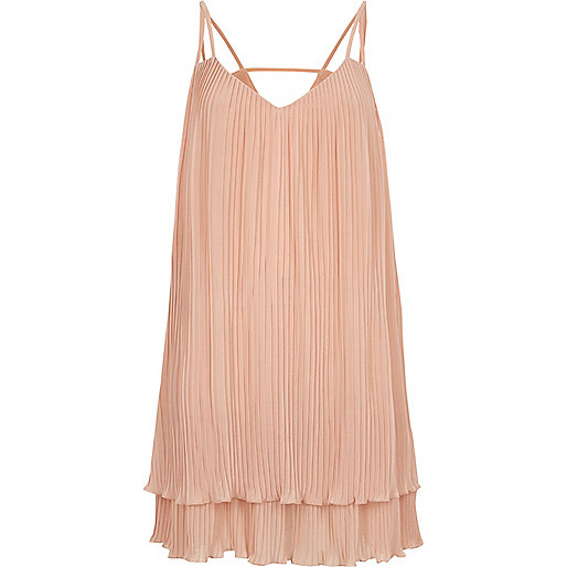 Light pink pleated cami slip dress