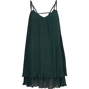 Dark green pleated cami slip dress