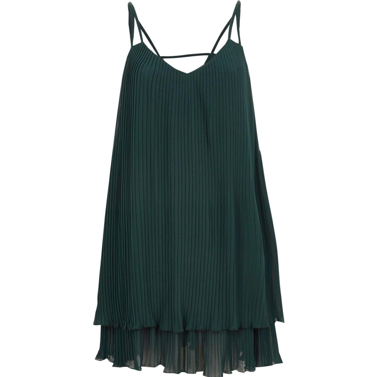 Dark green pleated cami slip dress