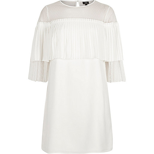 White pleated frill swing dress