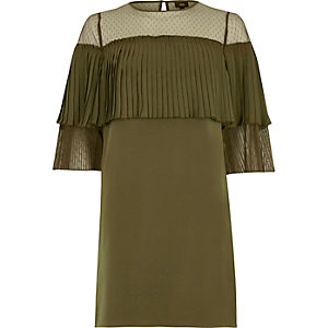 Plissiertes Swing-Kleid in Khaki