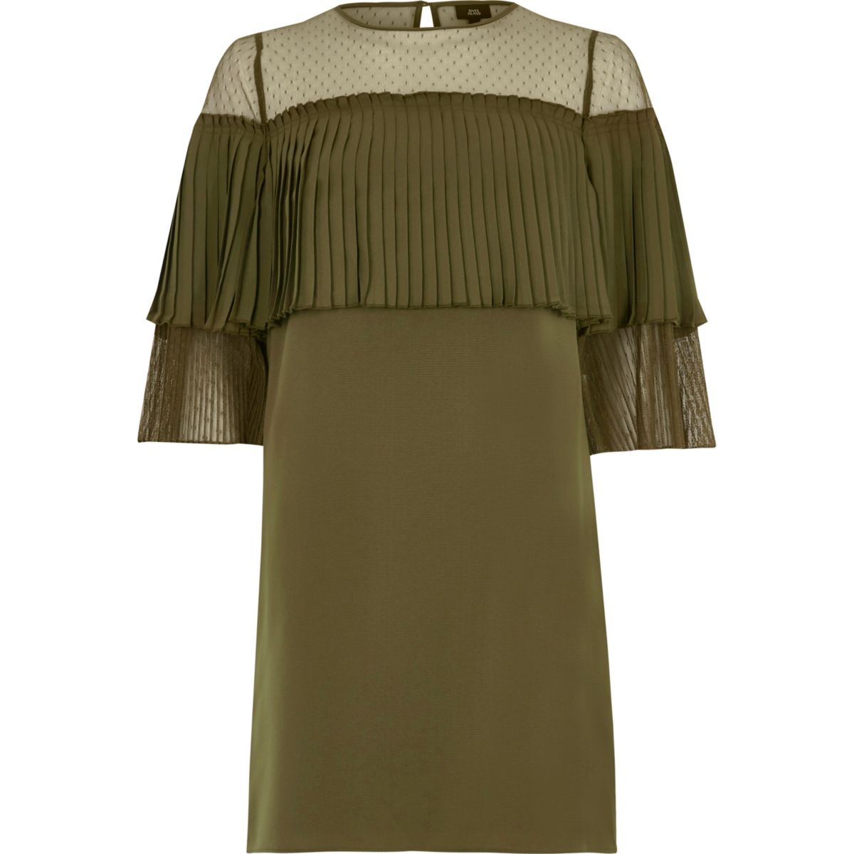 Khaki green pleated frill swing dress