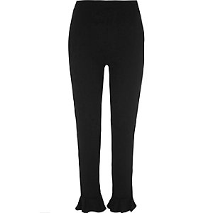 Black frill hem leggings