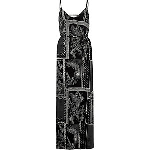Black paisley tie up back maxi cami dress