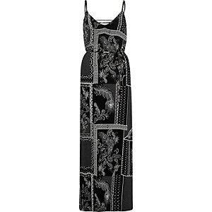 Zwarte cami maxi-jurk met paisleyprint en knoop op de rug