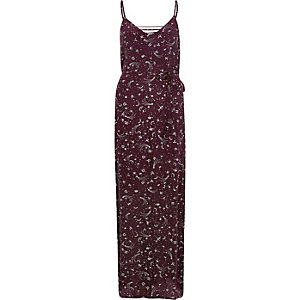 Red zodiac print tie up cami maxi dress