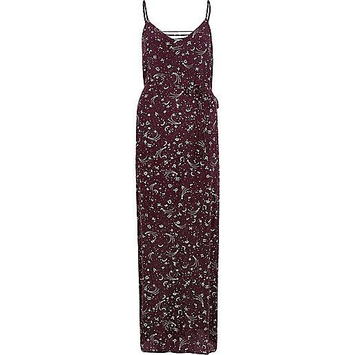 Red zodiac print tie up cami maxi dress