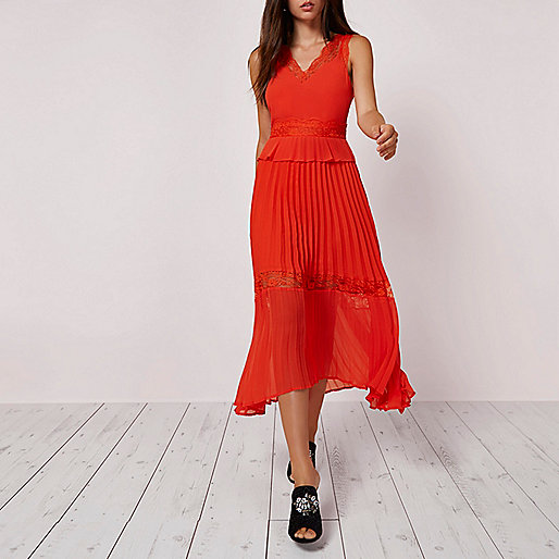 Orange pleated skirt lace trim dress