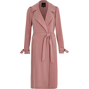 Pink belted duster trench coat
