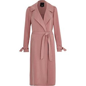 Roze duster-trenchcoat met ceintuur