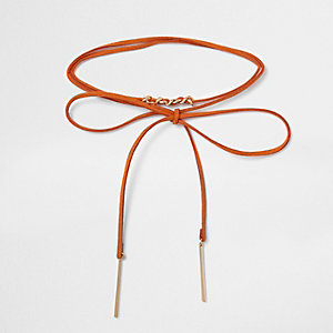 Collier ras-de-cou en suédine orange style cravate texane