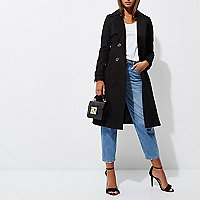 Black belted trench coat