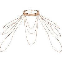 Rose gold tone diamante draped choker harness