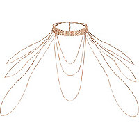 Rose gold tone rhinestone draped choker harness