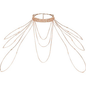Rose gold tone diamante draped choker harness