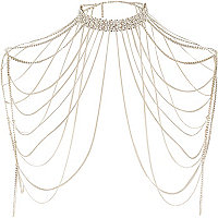 Gold tone diamante draped choker harness