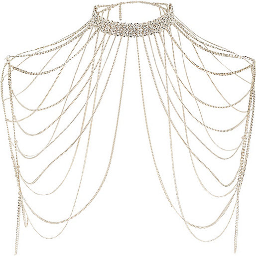 Gold tone rhinestone draped choker harness
