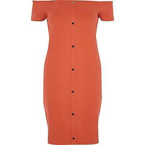 Rust orange bardot bodycon dress