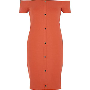 Rust orange bardot bodycon dress