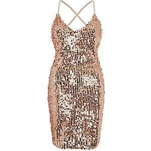 Gold sequin strappy back bodycon dress