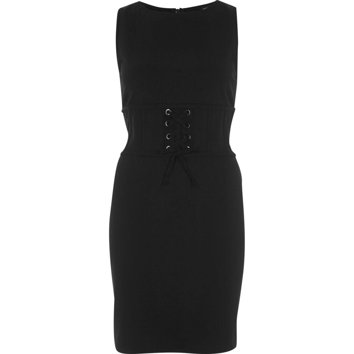 Robe moulante noire style corset