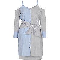 Blue stripe print cold shoulder shirt dress