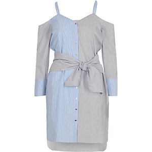 Blue stripe print cold shoulder shirt dress