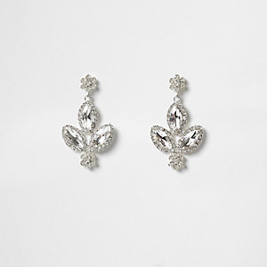 Silver tone diamante leaf drop earrings