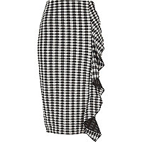 Black gingham print frill front pencil skirt
