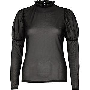 Black sheer mesh puff sleeve top