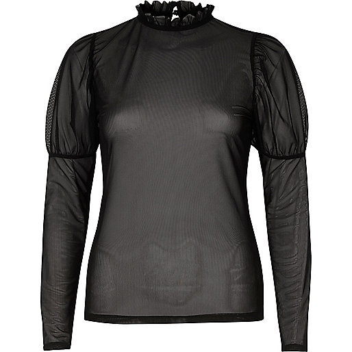 Black sheer mesh puff sleeve top