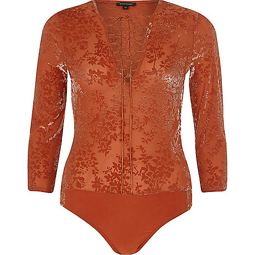 Dark orange burnout velvet lace-up front body